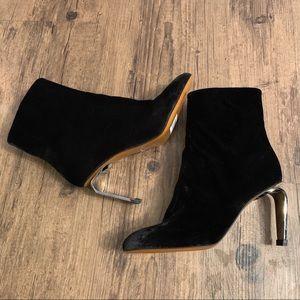 NWOT Robert Clergerie Black Velvet Ankle Boots